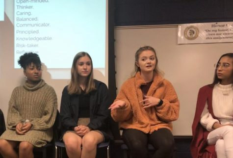Lauren Hensley, a Virginia Tech student, explains the IB program to students at the IB Class of 2019 Graduate Panel.