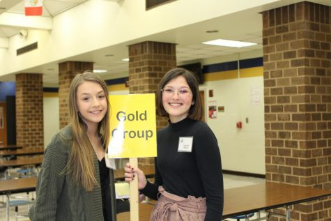 Sydney Prussman and Isabella Wagner lead the Gold Group interviewees through Midlothian High School at the 2020 IB Interview Day.