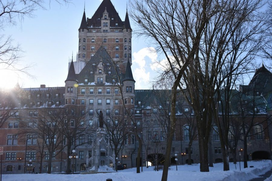 Students observe Le Chateau Frontenac, the most famous hotel in Quebec City.