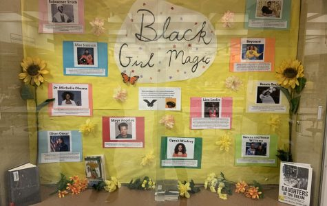 A Black History Month display case, located in the open commons, includes fact about famous African-American women.