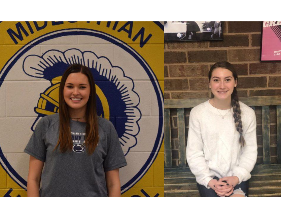 Emma Weber and Ava Brown receive recognition for December student of the month at Midlothian High school.