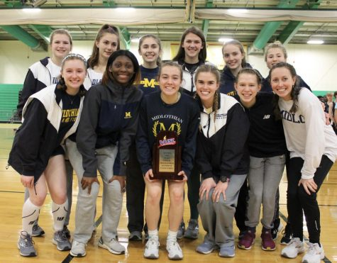 At the VHSL Class 5 Indoor Track and Field Championships, the Midlo Girls celebrate their accomplishment of finishing second in the team competition.