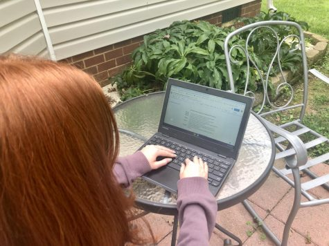 Quinn Downing takes Renaissance notes outside for World History as she progresses through the first weeks of virtual school.