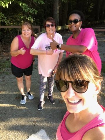 Mrs. Angie Brown, Ms. Lynn Shelton, Ms. Natalie Harrison, and Ms. Loretta Speller walk the On Wednesdays We Run in Pink 5K at the Midlothian Mines Park.