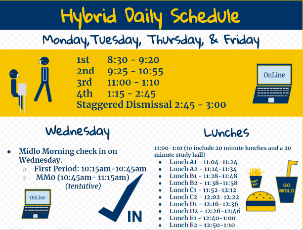 The hybrid daily schedule goes into effect starting on Monday, November 9, 2020.