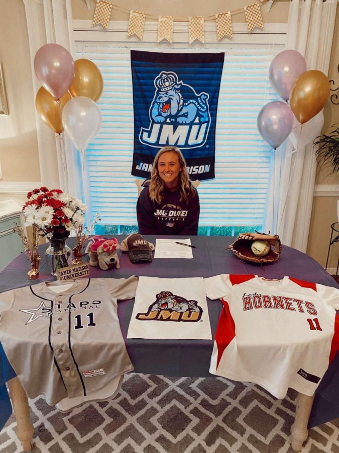 Abbie+Campbell+signs+to+play+softball+at+James+Madison+University.+
