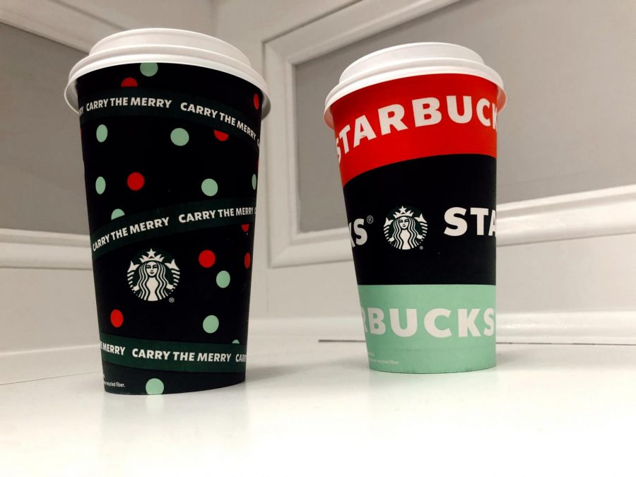 The Dots and Brand Wrap, two out of four of Starbucks's featured 2020 holiday cup designs, make their way into eagerly awaiting public hands.