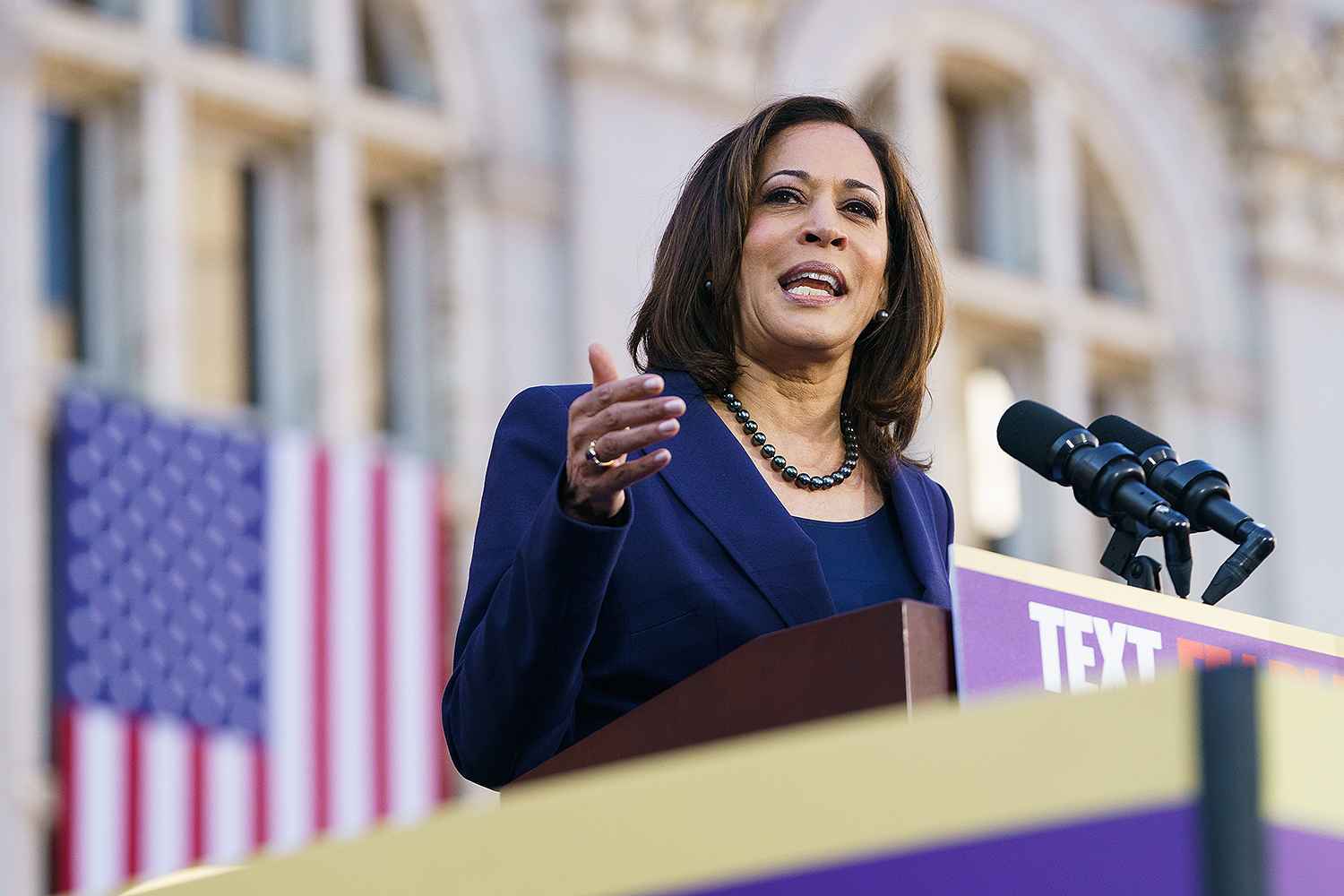 OAKLAND, CA - JANUARY 27: Senator Kamala Harris (D-CA) speaks to her supporters during her presidential campaign launch rally in Frank H. Ogawa Plaza on January 27, 2019, in Oakland, California. Twenty thousand people turned out to see the Oakland native launch her presidential campaign in front of Oakland City Hall.