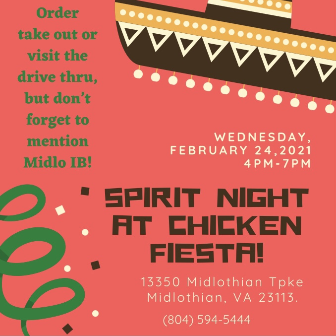 The IB program hosts a spirit night at Chicken Fiesta.