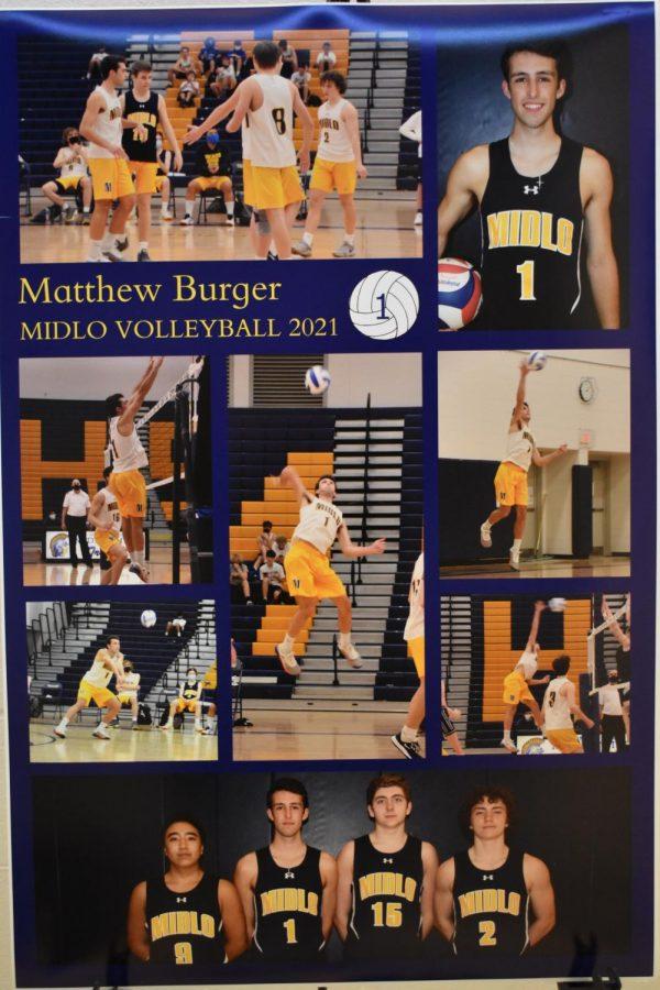 Senior Matthew Burger is recognized at the Monacan v. Midlo Boys Volleyball Senior Night game.