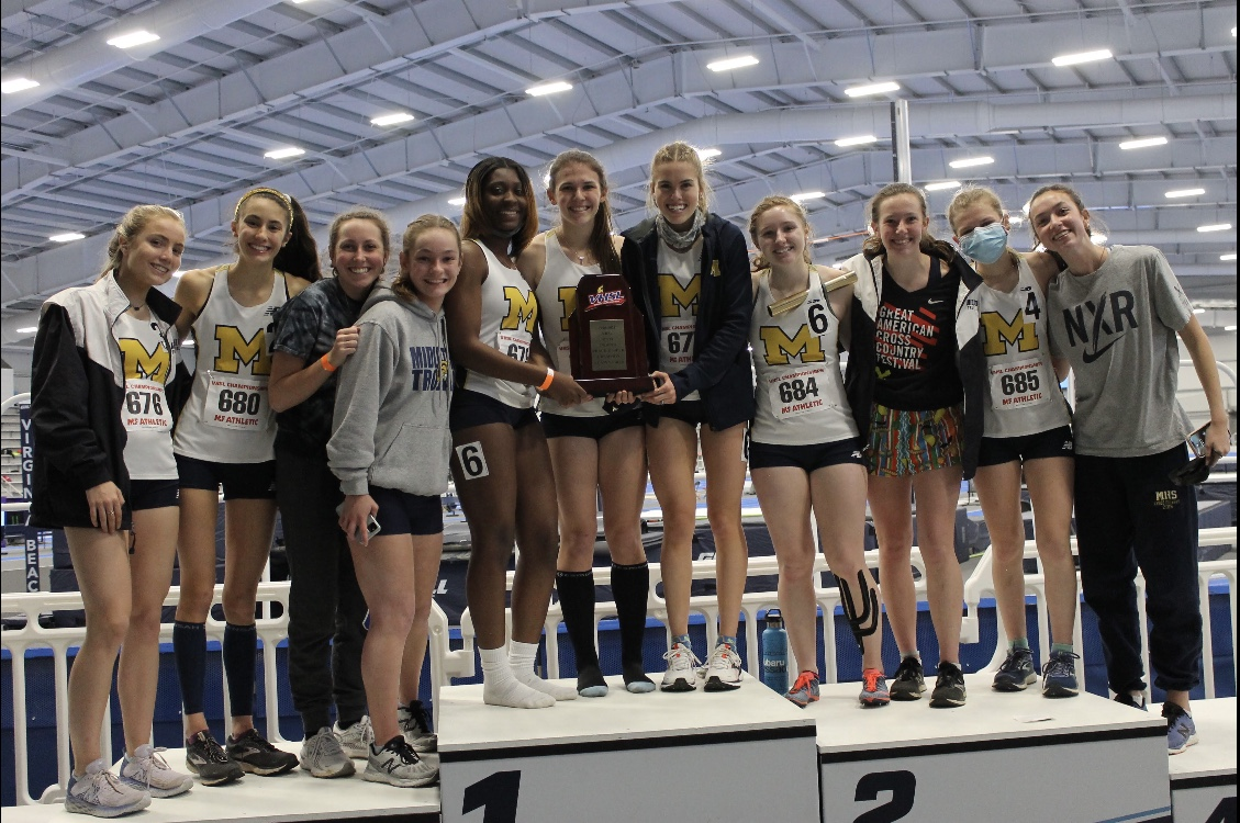 The Girls Indoor Track and Field team wins the VHSL State Championship at the Virginia Beach Sports Center.