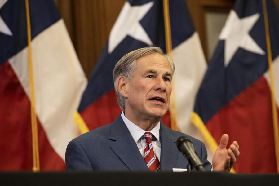 Governor+Greg+Abbott+speaks+of+the+updates+mask+rules+and+restrictions.