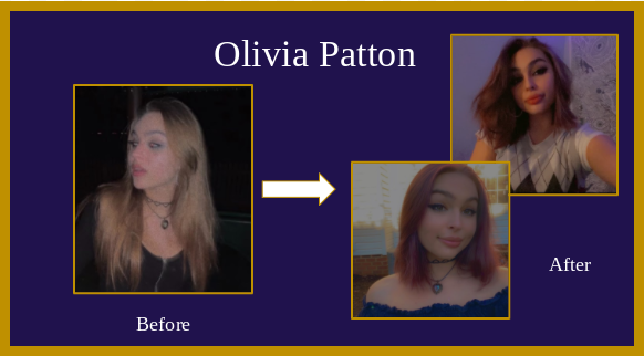 Senior Olivia Patton spent her quarantine trimming, and dying her hair purple.