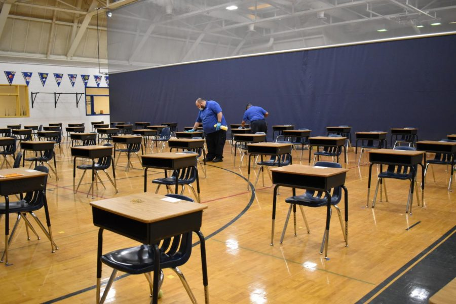 Midlothian High School custodial staff works diligently to fully disinfect the school daily.