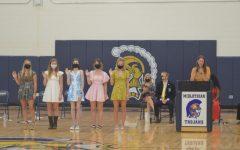 Ms. Elizabeth Boese swears in the new Senior Class Officers.