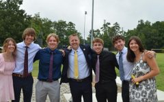 Principal Dr. Shawn Abel joins students in their senior celebration.