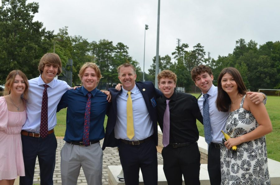 Principal+Dr.+Shawn+Abel+joins+students+in+their+senior+celebration.