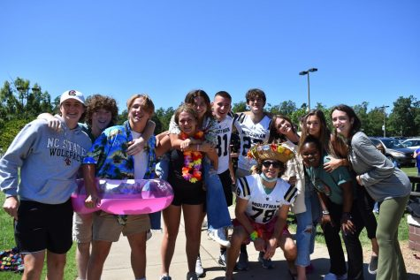 Seniors enjoy the sunny weather out at the Beach Bash lunch.