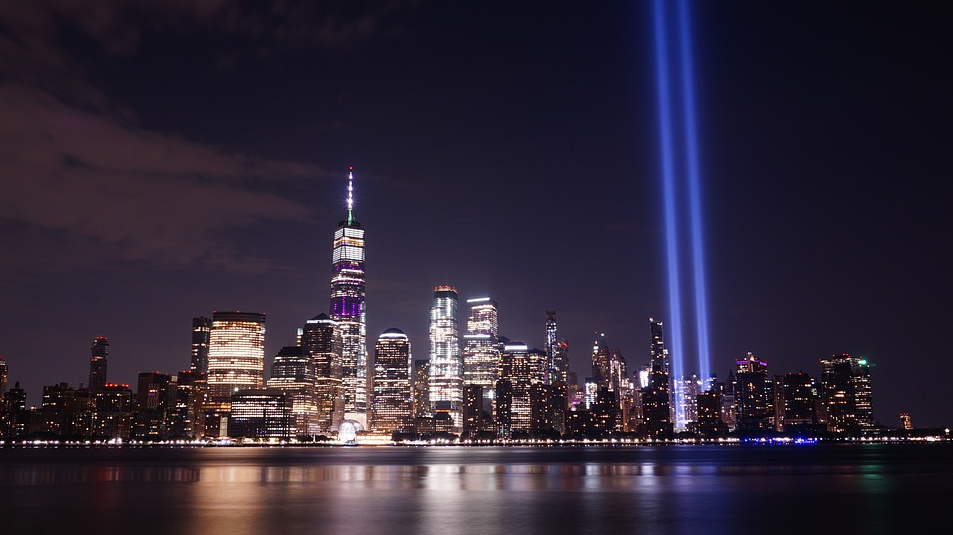 The attacks of September 11, 2001, are remembered in New York by two beams of light, representing the spot of the Twin Towers.