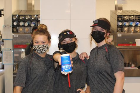 Chloe Lavinge, Olivia Leech, and Reese Abplanalp have been working at Dairy Queen since its opening during the summer.