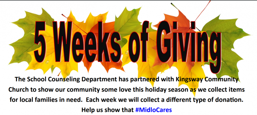 Midlo Counseling Department partners with the Kingsway Community Church for a month long donation drive.