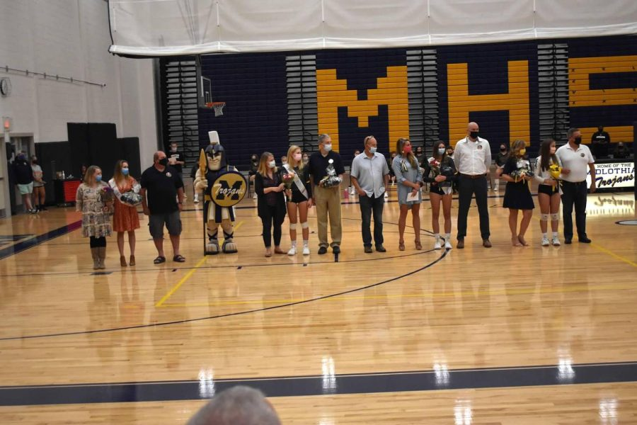 Volleyball+Seniors+honored+during+their+Senior+Night+ceremony.+%0A