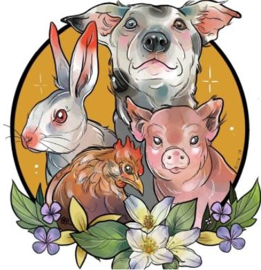 VegFest theme artwork, created by Richmond-based tattoo artist, Ellie Gill